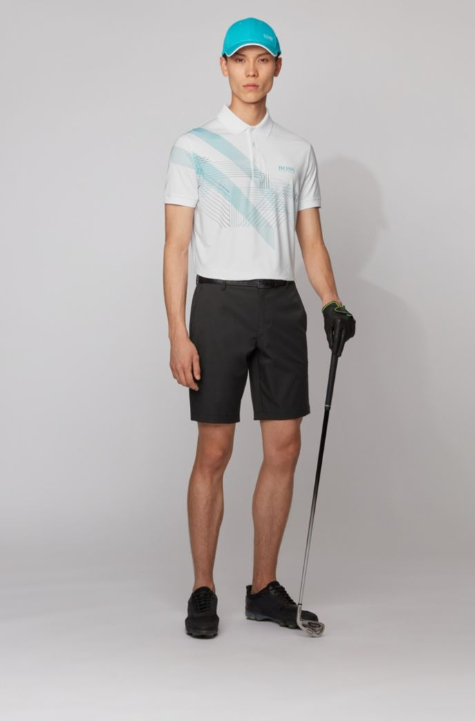 Stretch-jersey polo shirt with mixed-print graphic