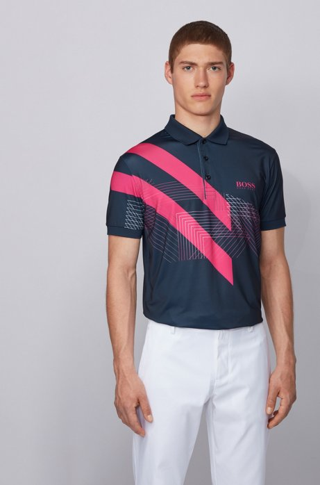 Stretch-jersey polo shirt with mixed-print graphic, Dark Blue