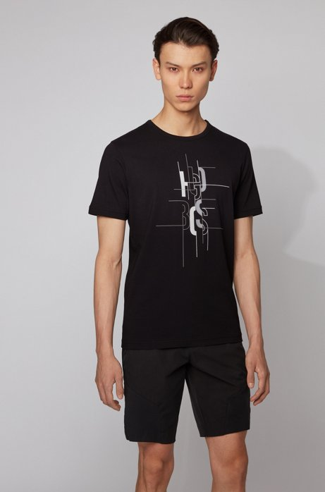 Cotton T-shirt with logo artwork, Black
