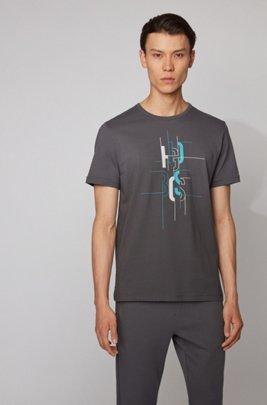 Cotton T-shirt with logo artwork, Dark Grey