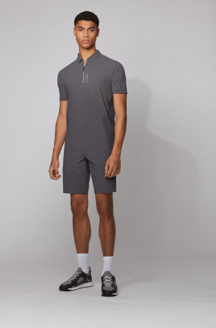 Zip-neck polo shirt with perforated panels