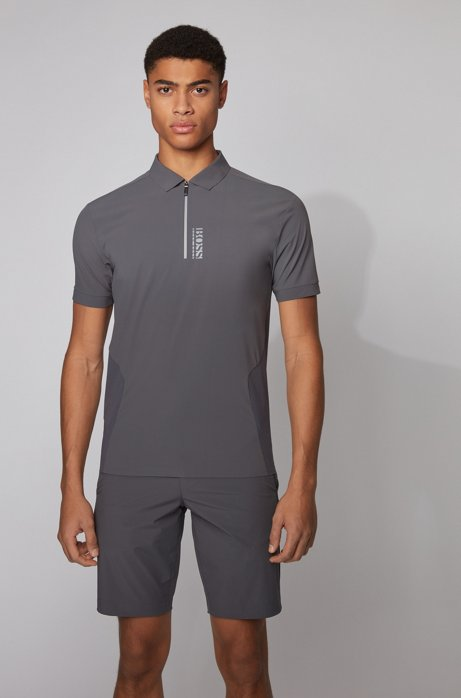 Zip-neck polo shirt with perforated panels, Dark Grey