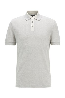 Mouliné polo shirt in cotton and linen, Grey