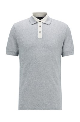 Mouliné polo shirt in cotton and linen, Dark Blue