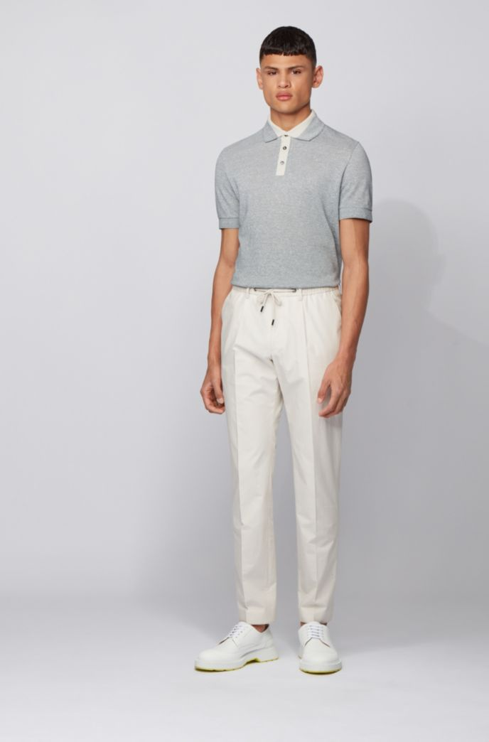 Mouliné polo shirt in cotton and linen