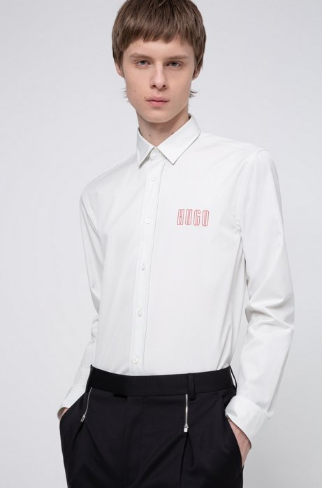 Relaxed-fit shirt in cotton with new-season logo prints, White