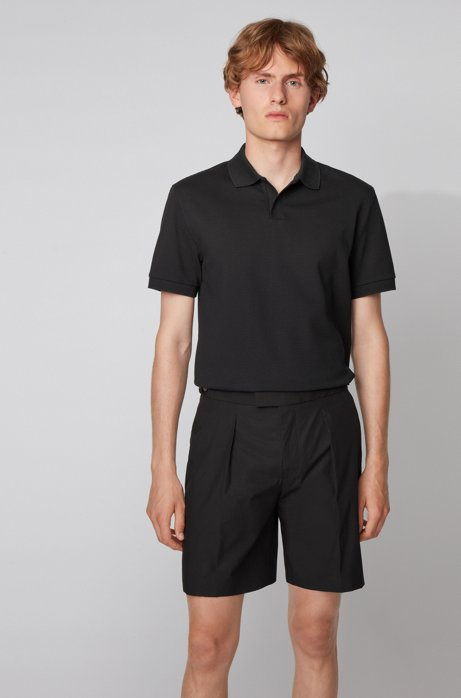 Stretch-cotton polo shirt with open collar, Black