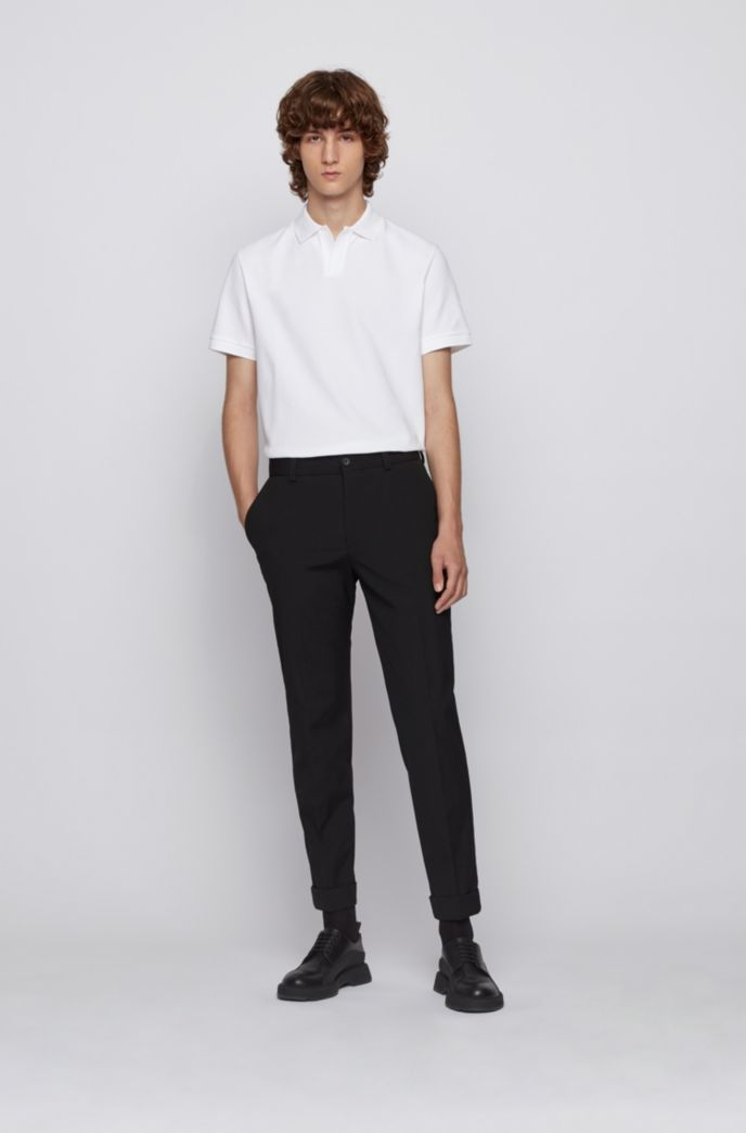 Stretch-cotton polo shirt with open collar