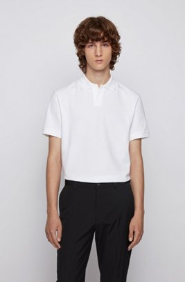 Stretch-cotton polo shirt with open collar, White