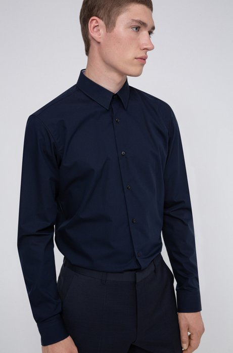 Regular-fit shirt in easy-iron cotton poplin, Dark Blue