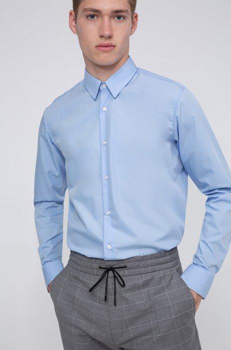 Regular-fit shirt in easy-iron cotton poplin, Light Blue