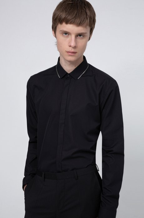 Extra-slim-fit cotton shirt with zip-trimmed collar, Black
