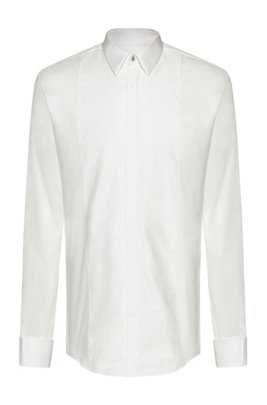 Slim-fit dress shirt with tonal-checked bib, White