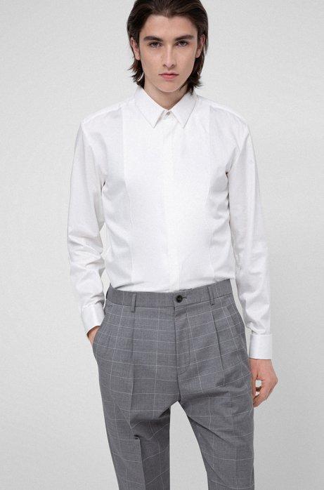 Slim-fit dress shirt with tonal-checked bib, White