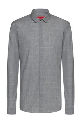 Extra-slim-fit cotton shirt with dégradé check, Light Grey