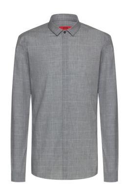 Extra-slim-fit cotton shirt with dégradé check, Light Grey