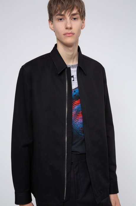 Oversized-fit shirt in cotton twill with zip closure, Black