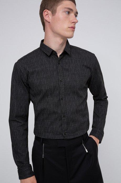 Extra-slim-fit shirt in cotton jacquard, Dark Grey