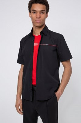 Slim-fit shirt in cotton poplin with logo stripe, Black