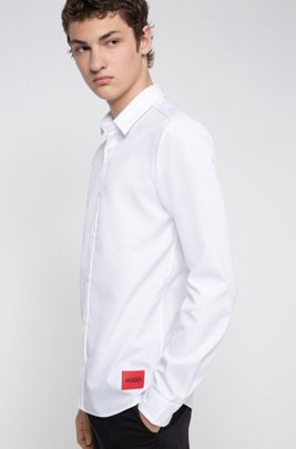 Extra-slim-fit cotton shirt with logo patch, White