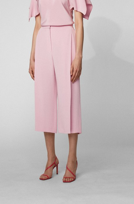Wide-leg relaxed-fit silk pants with pleat front, Light Purple
