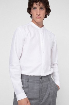 1920s Men's Dress Shirts, Casual Shirts Relaxed-fit shirt with garment-washed finish $128.00 AT vintagedancer.com