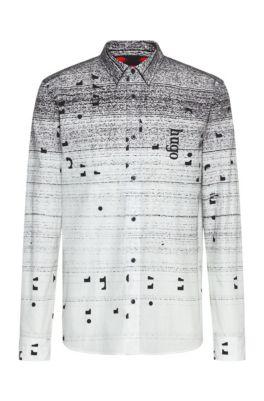 Chemise en coton Relaxed Fit à imprimé intégral, Noir