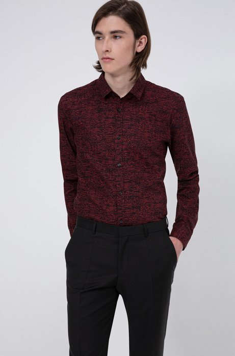 Extra-slim-fit cotton shirt with all-over print, light pink