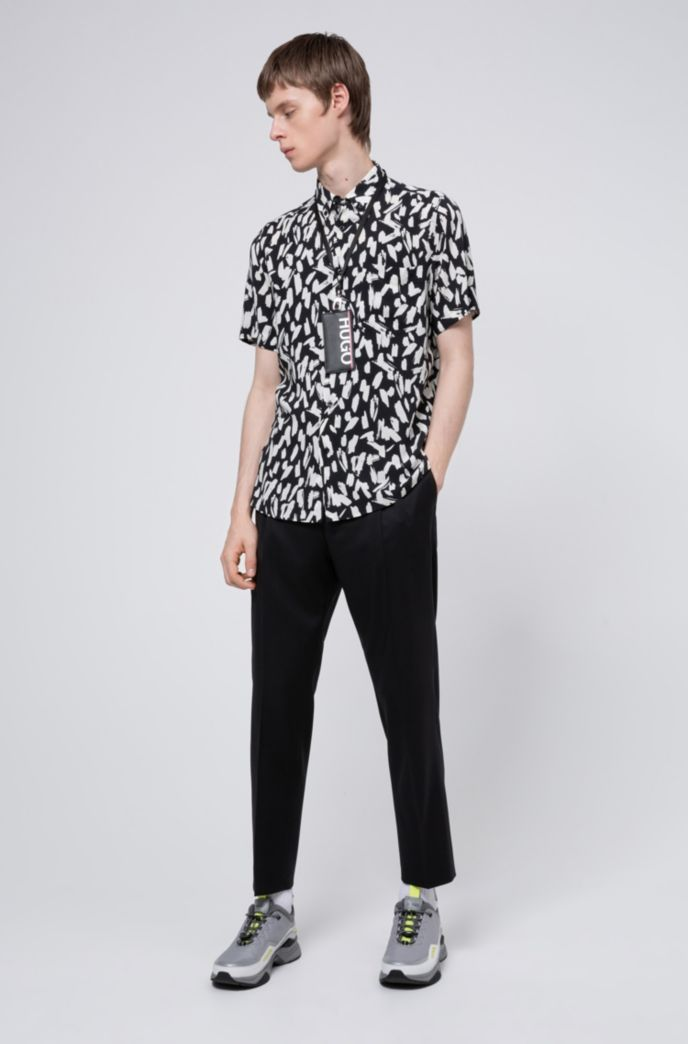 Relaxed-fit button-down shirt with all-over abstract print