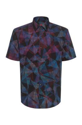 Geometric-print slim-fit shirt in cotton canvas, Black