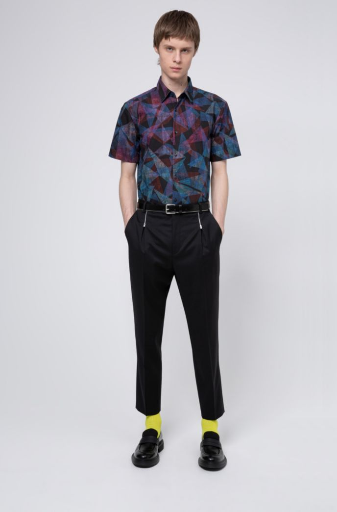 Geometric-print slim-fit shirt in cotton canvas