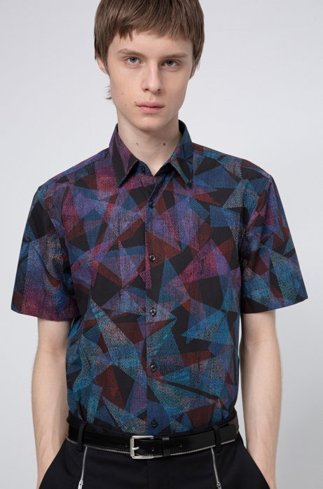 Geometric-print slim-fit shirt in cotton canvas, Black