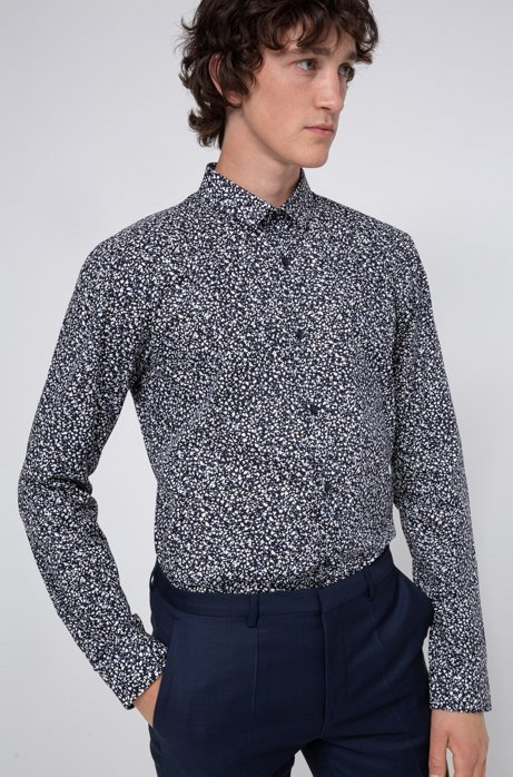 Extra-slim-fit cotton shirt with all-over print, Light Blue