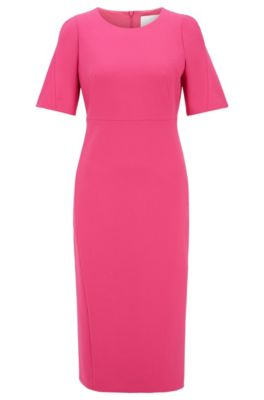 Hugo Boss HUGO BOSS - MIDI LENGTH DRESS IN DOUBLE FACED PORTUGUESE STRETCH FABRIC - PINK