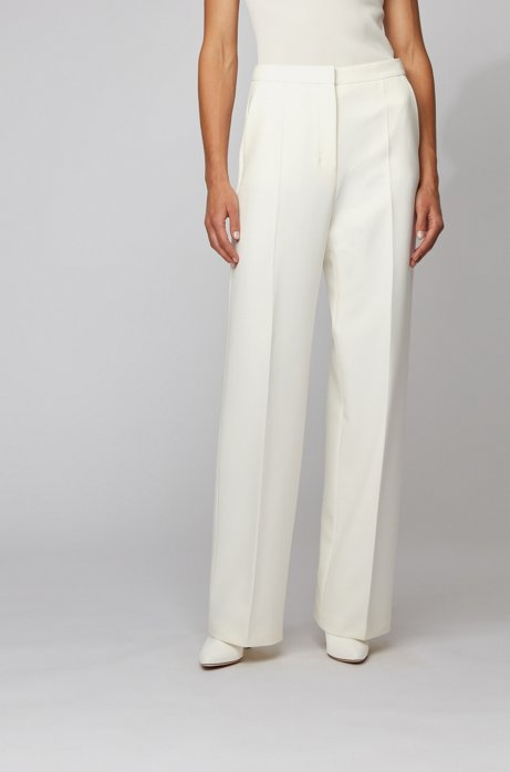Wide-leg pants in double-faced stretch fabric, White