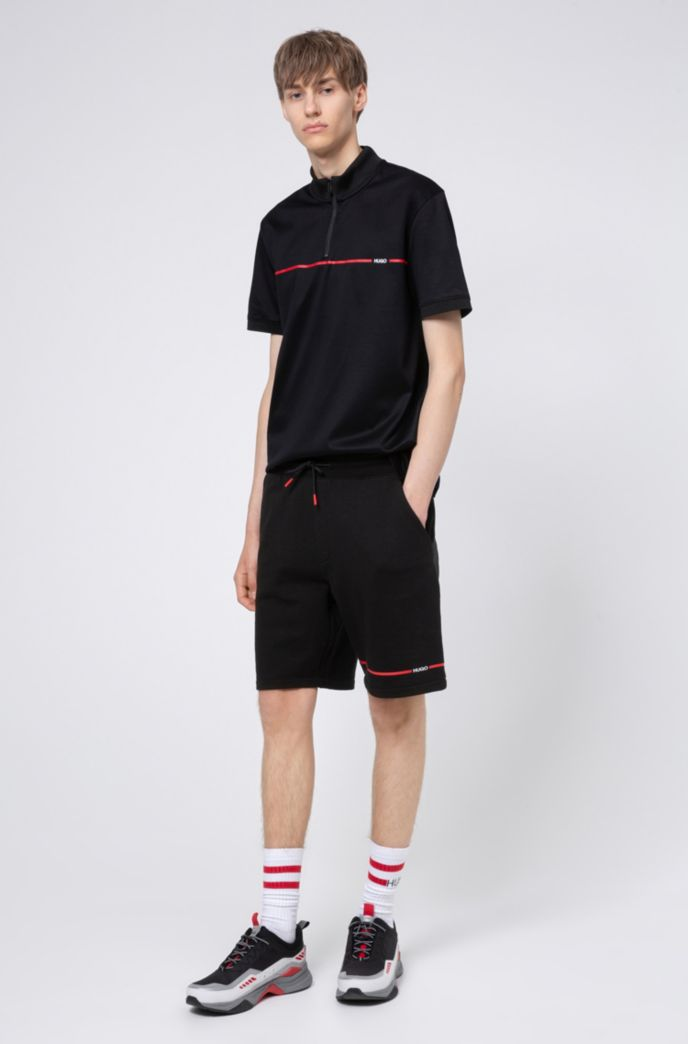 Cotton-terry shorts with contrast stripe and logo