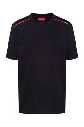 Cotton T-shirt with contrast logo stripe, Black