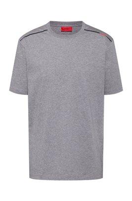 Cotton T-shirt with contrast logo stripe, Light Grey