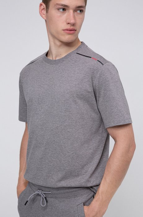 Cotton T-shirt with contrast logo stripe, Light Grey