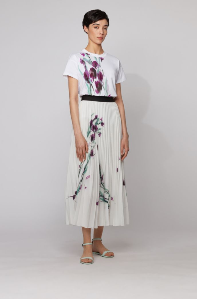 Midi-length plissé skirt with placed floral print