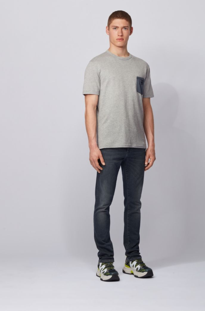 Cotton T-shirt with honeycomb structure and denim pocket