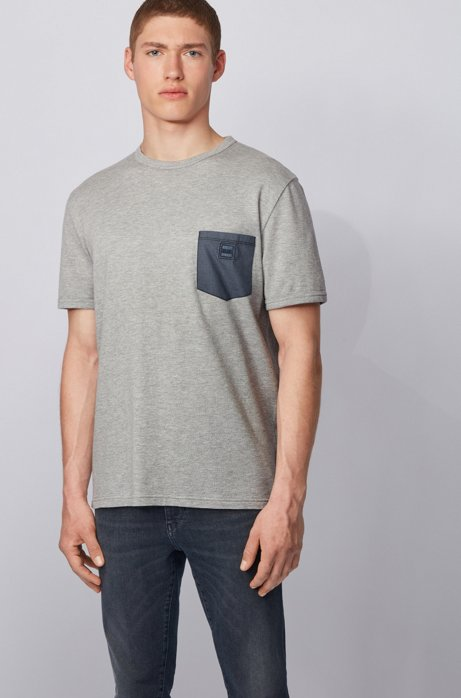 Cotton T-shirt with honeycomb structure and denim pocket, Grey