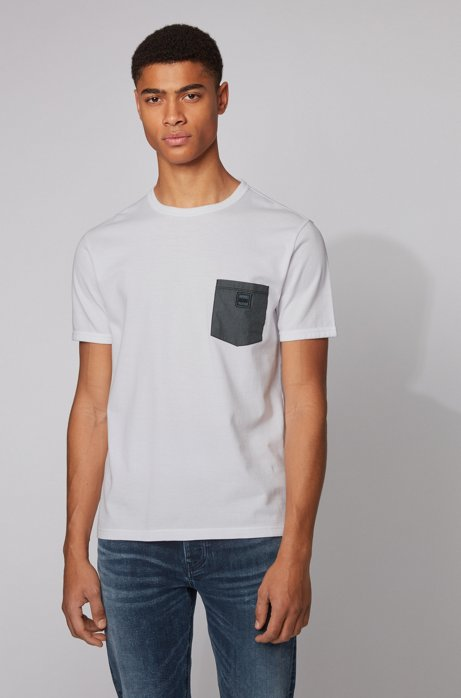 Cotton T-shirt with honeycomb structure and denim pocket, White
