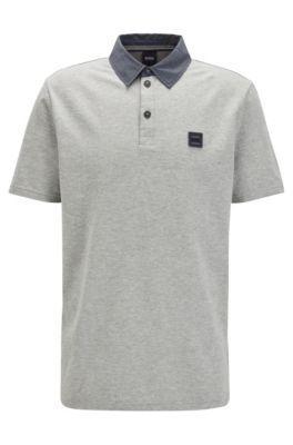 Honeycomb-structure cotton polo shirt with denim-look detailing, Grey