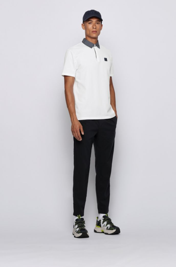 Honeycomb-structure cotton polo shirt with denim-look detailing
