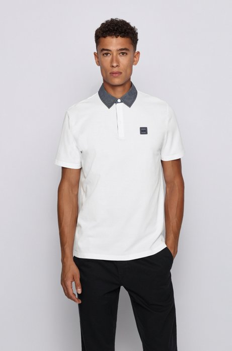 Honeycomb-structure cotton polo shirt with denim-look detailing, White