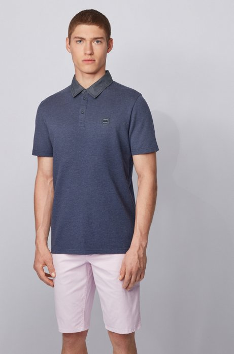 Honeycomb-structure cotton polo shirt with denim-look detailing, Dark Blue