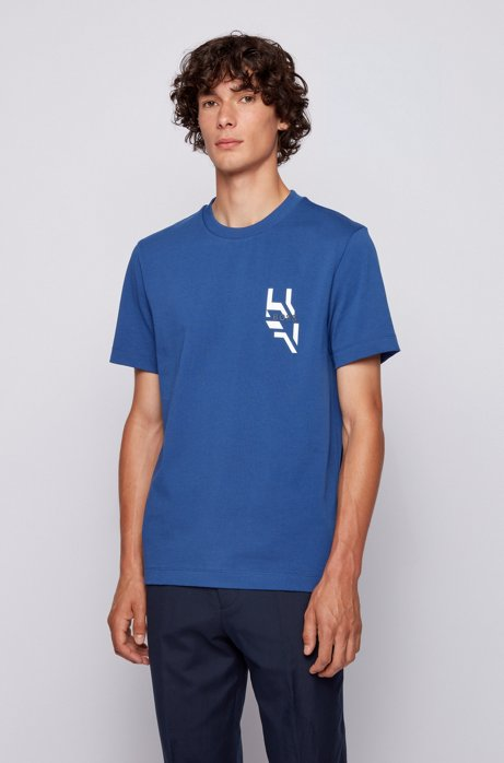 Relaxed-fit T-shirt with artwork print at back, Light Blue
