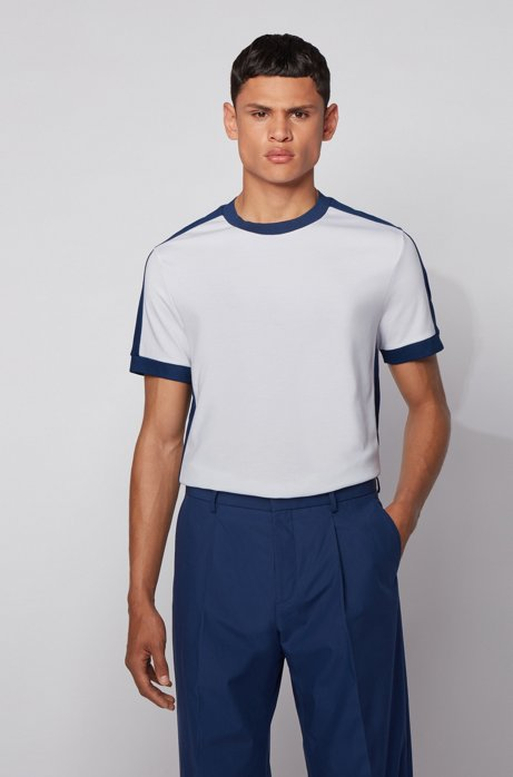 Regular-fit T-shirt with color-block stripes , White