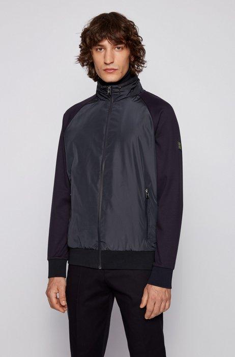 Zip-through sweatshirt with padded front and detachable hood, Dark Blue